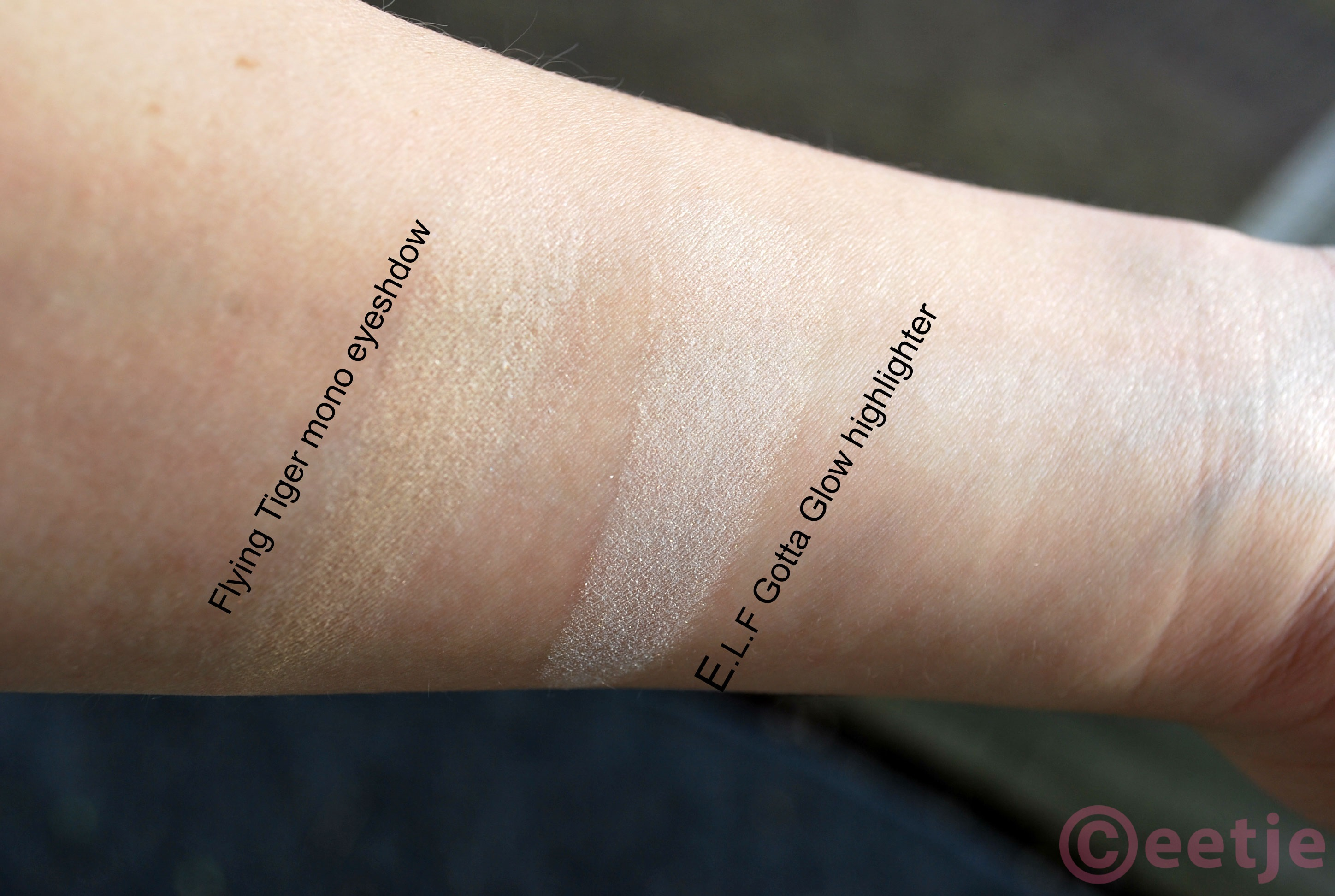swatch-elf-gotta-glow-highlighter dupe nars albatross