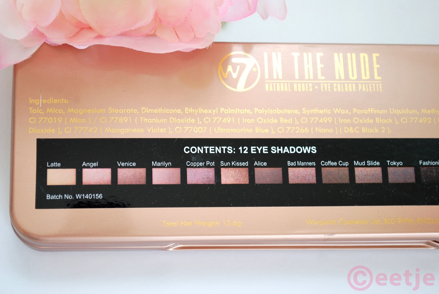 Kleuren W7 naked3 review swatches in the nude