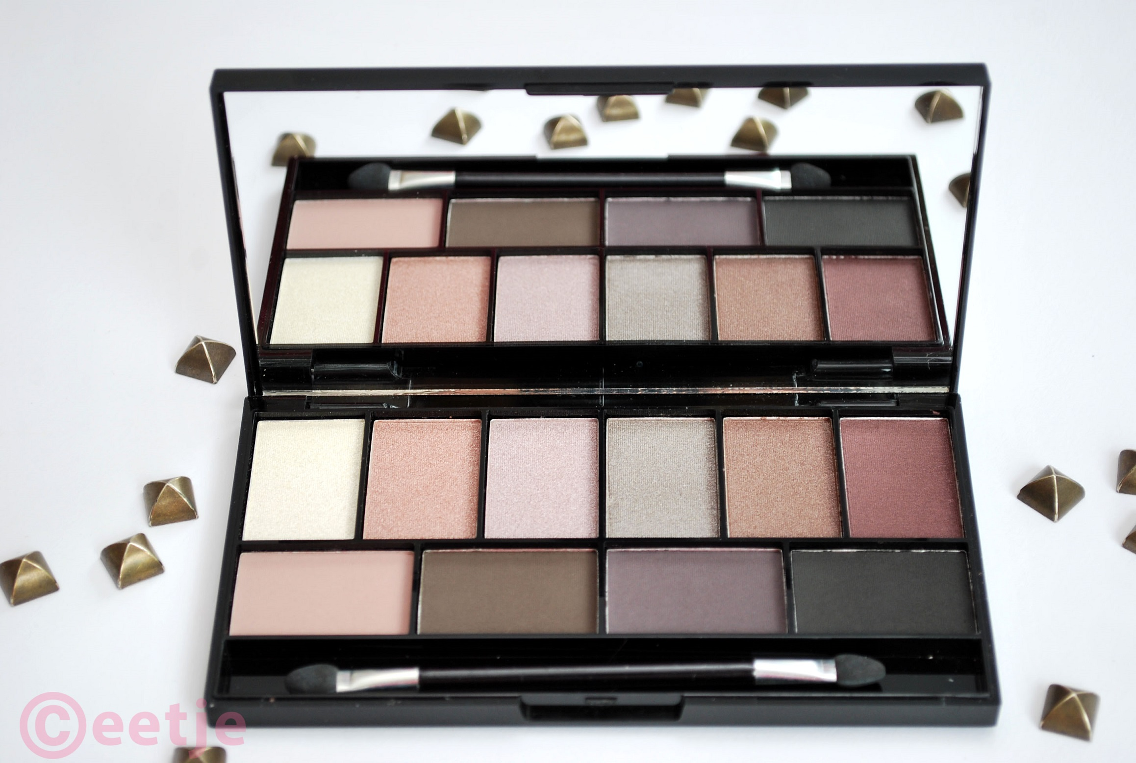 review MUA pretty edgy palette swatches