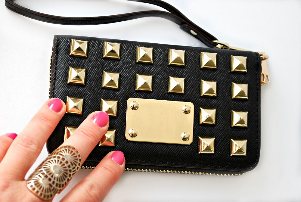 black gold studs wallet phone