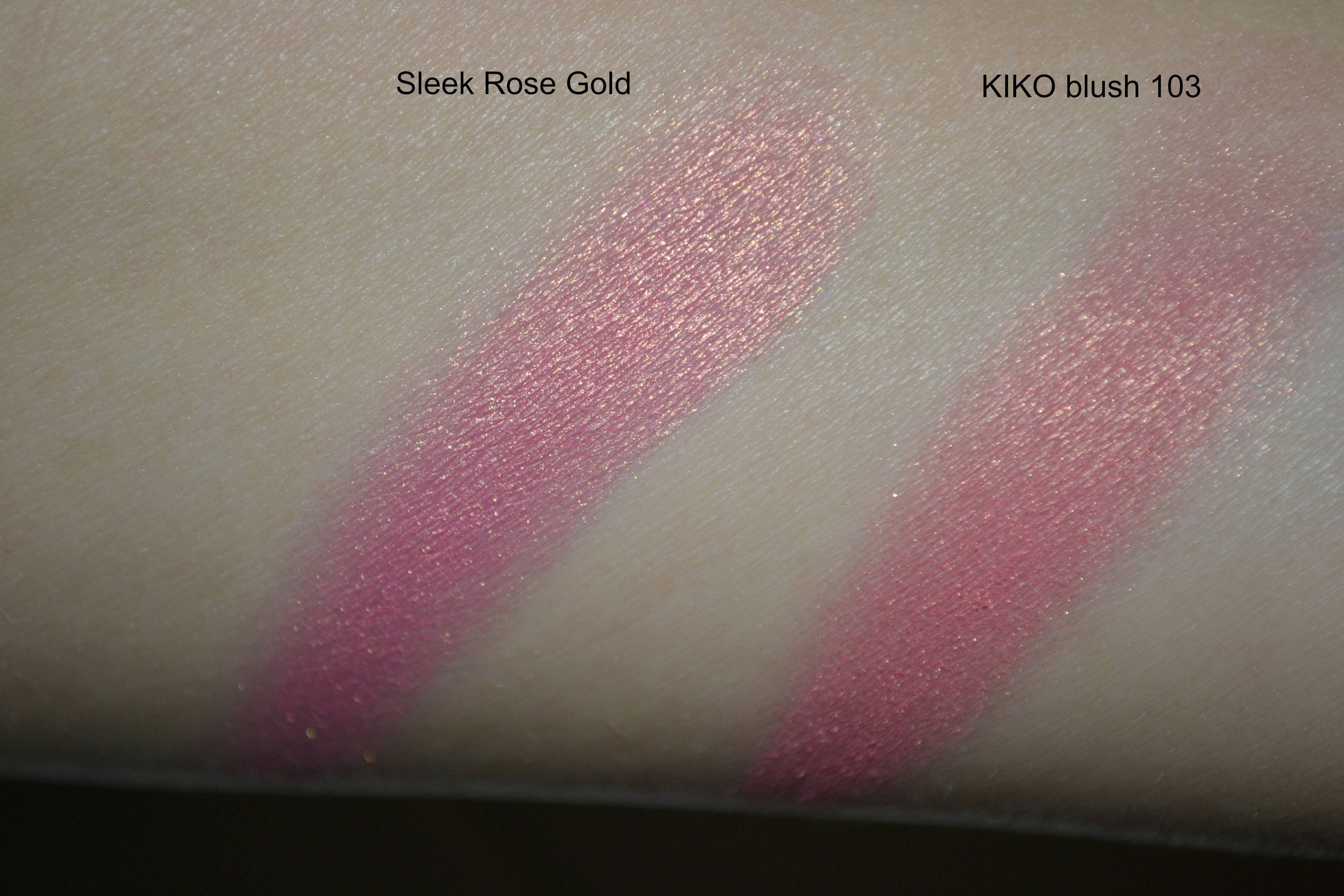 Swatch Sleek Rose Gold Kiko blush 103 review