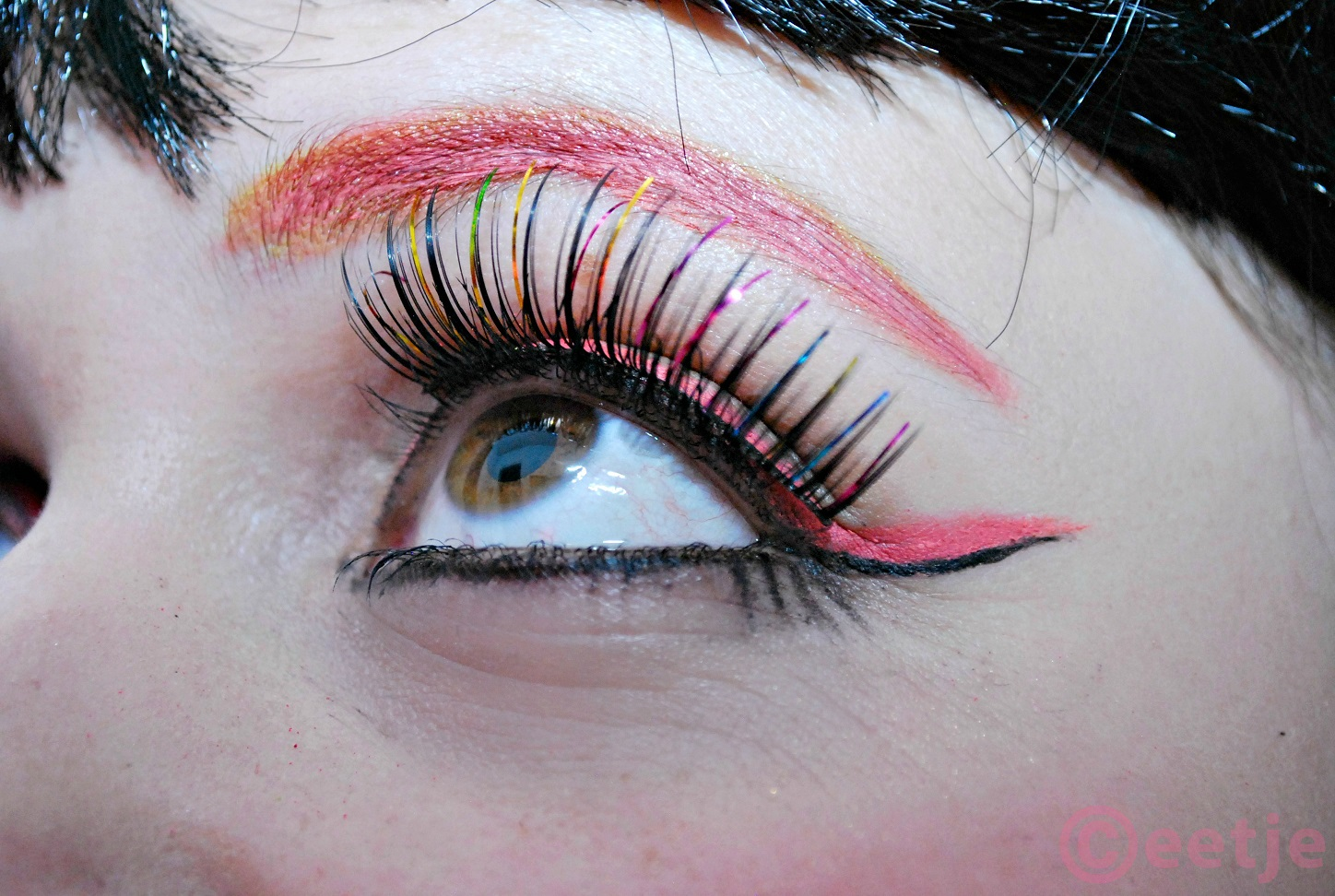 pink black double wing look false lashes