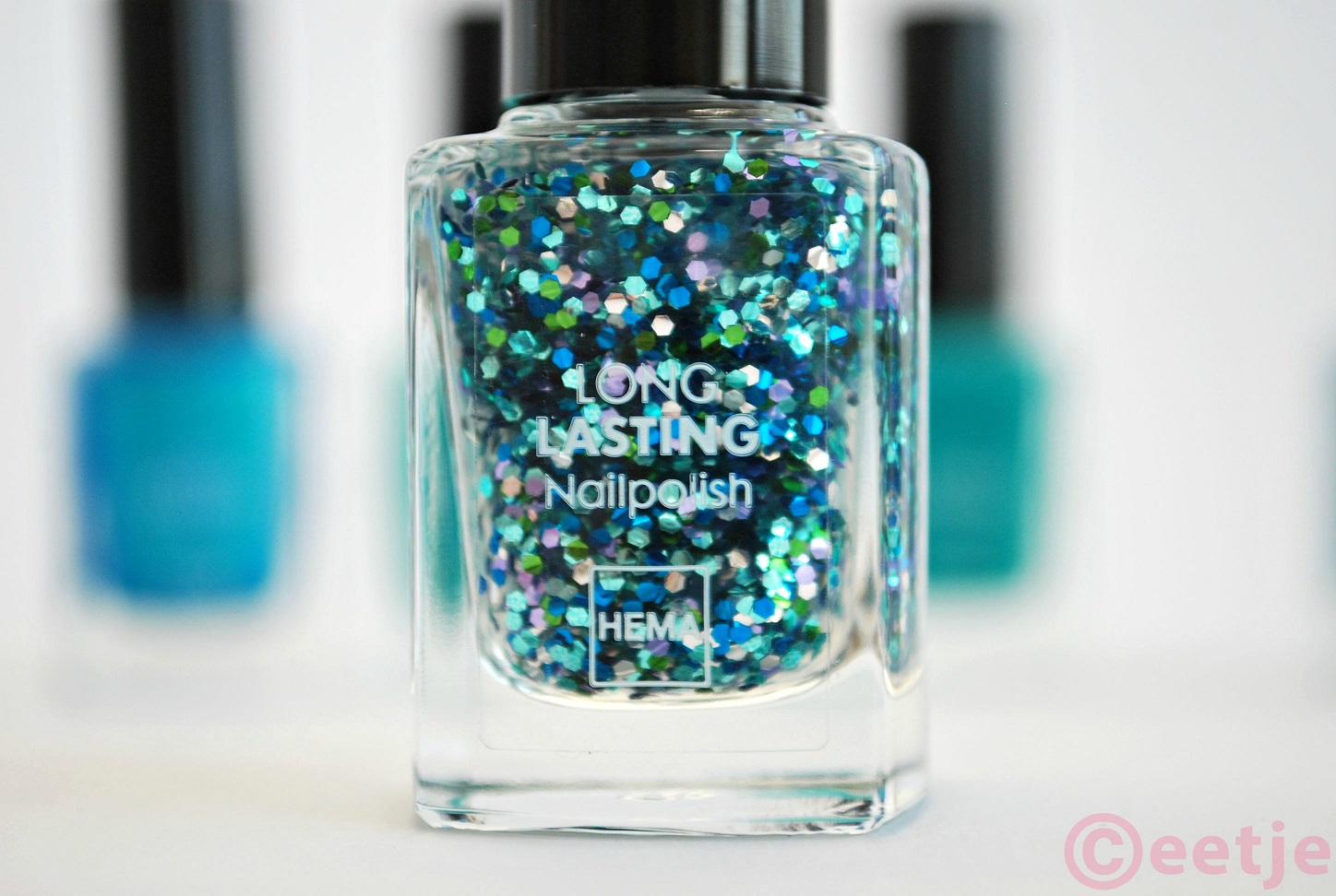 Hema topcoat Ocean glitter review swatch