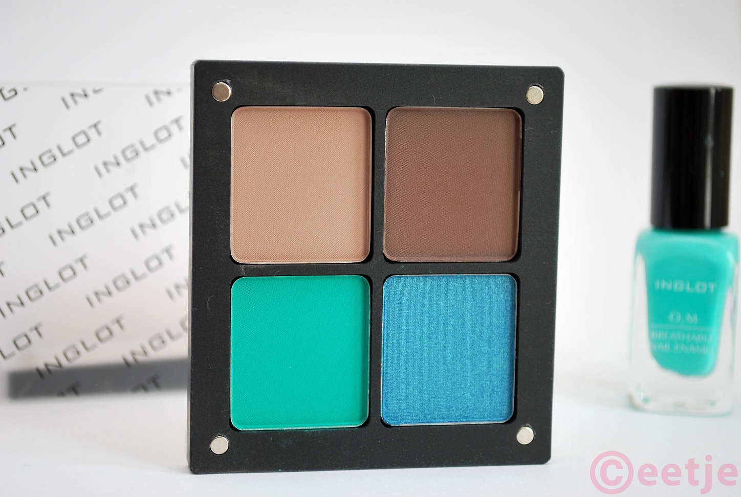 Review swatch Inglot freedom system blauw green