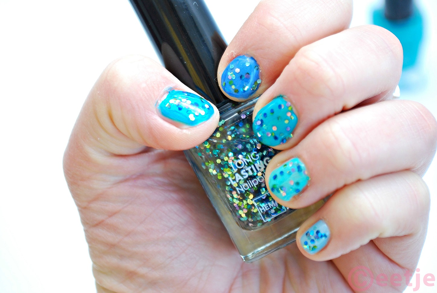 hema topcoat ocean glitter swatch review