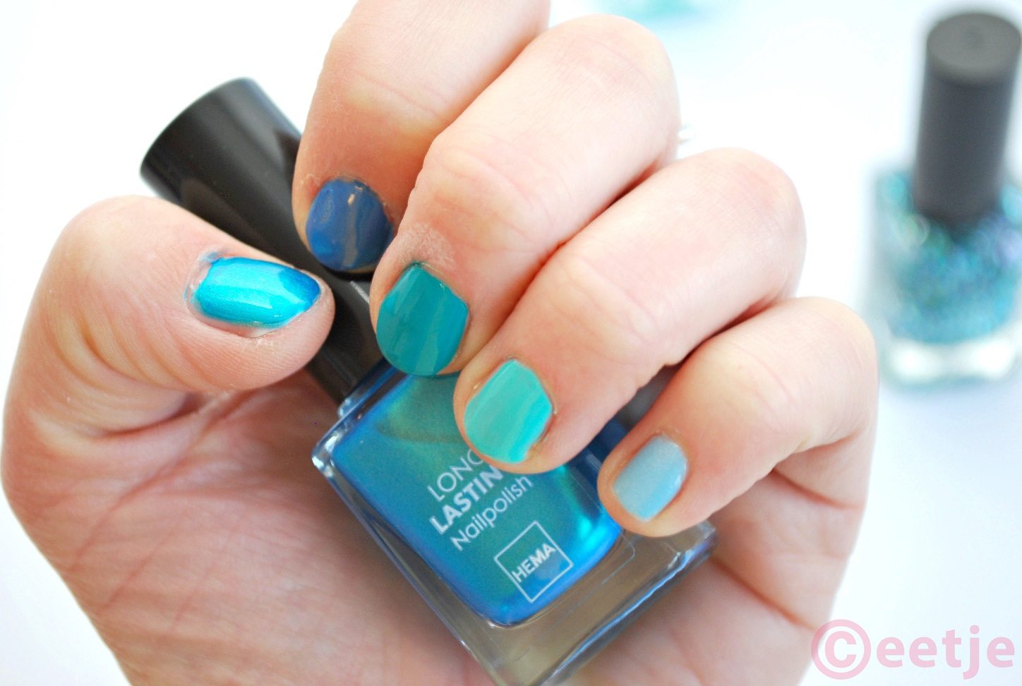 swatch hema nailpolish nagellak ocean blue sparkle