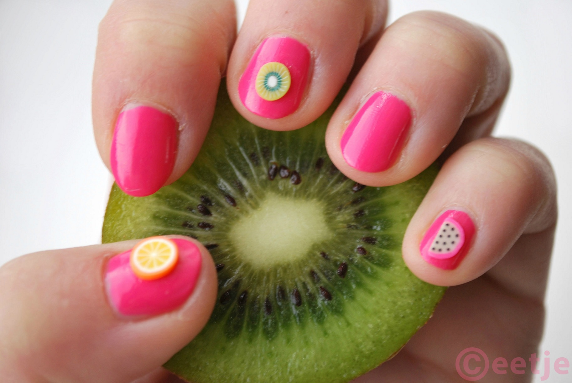 Tropical fruit nailart nail art kiwi melon orange