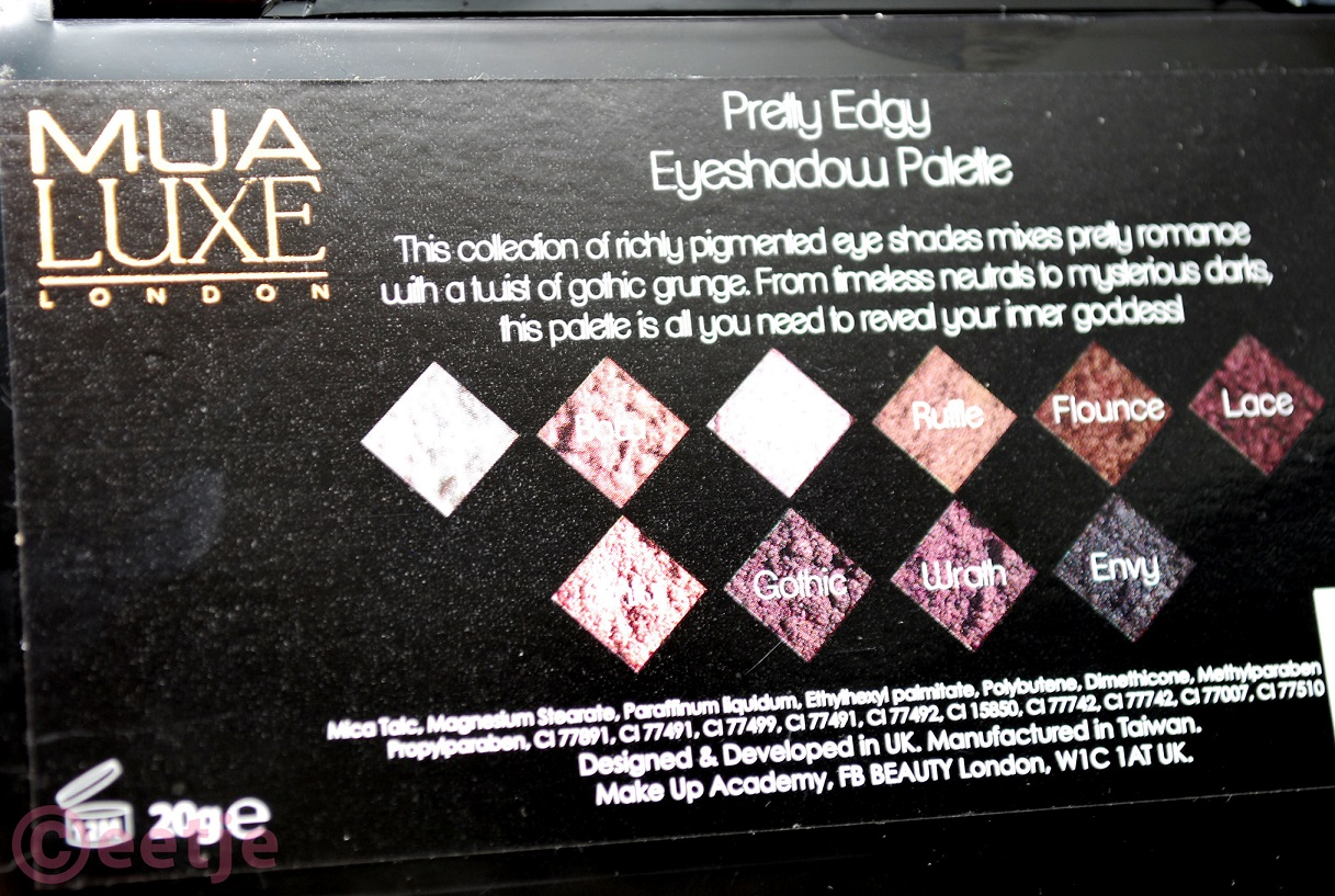 names MUA eyesgadow palette pretty edgy